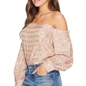 1. STATE off shoulder tan and silver striped top